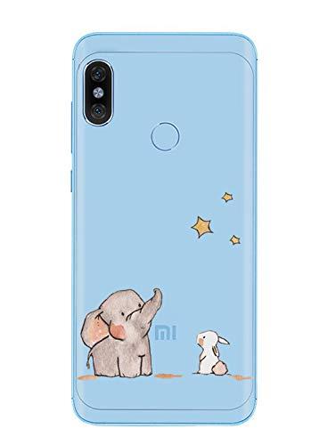 Caler Funda Compatible con Xiaomi Redmi Note 6 Pro/Note 6 Funda Transparente con Dibujos TPU Suave Bumper Protector Case con Motivo Bonito en TPU Silicona antigolpes 3D Vogue Ultra Chic