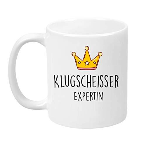 Lach - Produkte ''Klugscheisser Expertin'' - Kaffeetasse - Geschenk - Tasse - Trend Artikel -