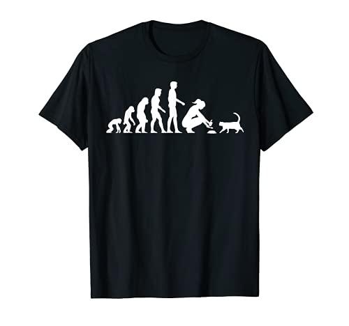 Evolution Katze Katzenbesitzer Katzenhalter Füttern T-Shirt