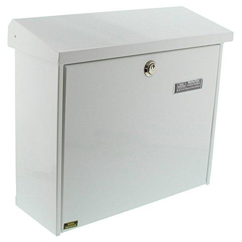 Burg-Wächter Briefkasten mit aufklappbarem Regendach, A4 Einwurf-Format, EU Norm EN 13724, Verzinkter Stahl, Comfort 913 W, Weiß