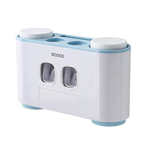 Sanfiyya? dentifricio Spazzolino Holder Parete Squeezer Automatico con 4 Tazze Organizzatore per Bagno Blu