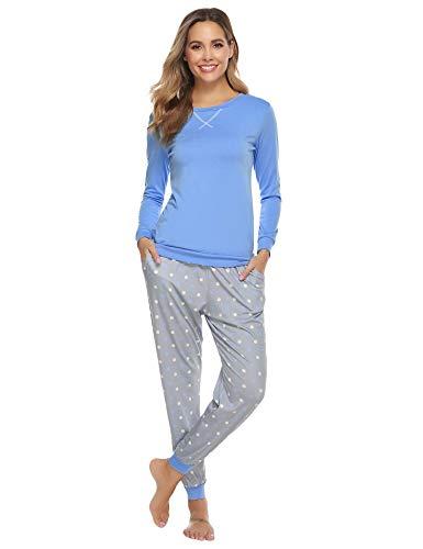 Hawiton Pijamas Mujer Invierno, Pijamas de algodón,Mangas Larga Camiseta y Pantalones de Lunares ondulados Conjunto de Ropa de Dormir 2 Piezas,Tallas Grandes, Azul, XXL