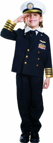 Dress Up America Navy Admiral Costume for Kids - Ship Captain Uniform in Black for Boys