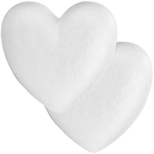 com-four® 2X Styropor-Herz zum Basteln - Bastelset aus Styropor im Herz-Design - Deko-Material für Gestecke und Kunsthandwerk (2 Stück - Herz geschlossen)