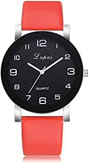 Fashion Leather Strap Watches P383 Black Dial Number Quartz Watch(Pink) (Color : Red)