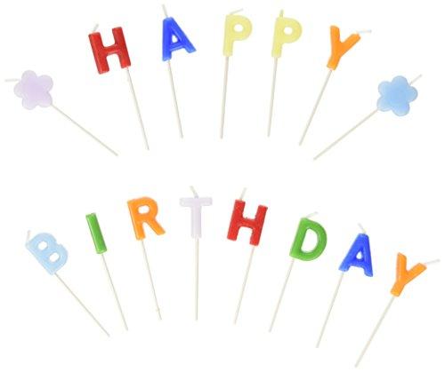 Susy Card 11142155 - Buchstabenkerzen, Happy Birthday, auf Picker farbig 15 Stück in Box