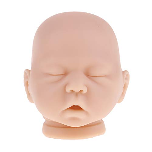 20 Inch Reborn Doll DIY Making Supplies - Full Silicone Head Mold with Close Eyes and Open Mouths - Realistic Baby Doll Replacement Part