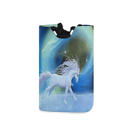 N\A Panier à Linge Grand Panier à Linge Mystic Unicorn Galaxy Star Pliable avec poignées Paniers pour paniers de Rangement à Linge, Organisateur de Ma