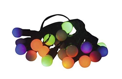 2 Stück - Lafiora - LED Globo Deko Lichterkette - 20er - bunt - Timer - 0,90 m - schwarzes Kabel - Batteriebetrieb