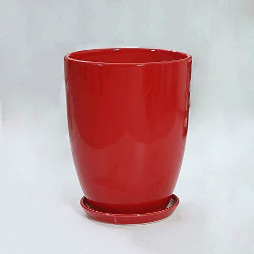 Thwarm Chinese Rode Eenvoudige Bloem Planter Keramische Muur Plant Potten Grote Grootte Binnenplaats Gebruiksvoorwerpen Ideaal voor Vensterbank en Office Tafel Decoratie Contanier Corrosie Weerstand Keramische Potten