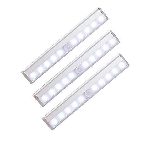 Led Sensor De Movimiento Luces para Armarios,10 Leds Batería-accionado Inalámbrico Lámpara Nocturna Led Light Bar,Luces Led Armario para Hallway Bathroom Bedroom-3packs 19x3x1.5cm