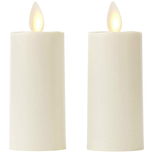 Set of 2 Votive Flameless Candles: 1.75'x3' Ivory Unscented Moving Flame Candles with Timer
