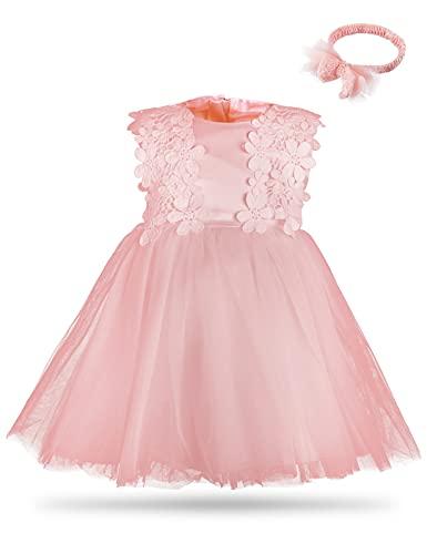 Mintgreen - Vestido de flores para niña, encaje de tutú o princesa, vestido con diadema rosa 6 mes
