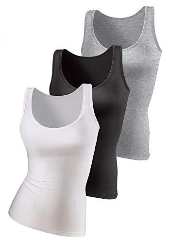 H HIAMIGOS Confezione da 3 Canottiere da Donna in Cotone Sportiva Tank Tops T-Shirt Senza Maniche per Yoga Fitness Jogging Nero+Bianco+Grigio Medium