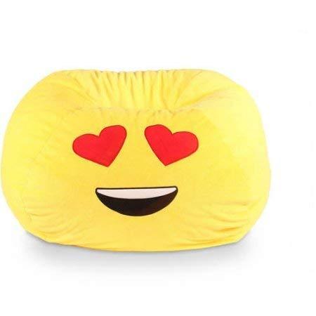 GoMoji Emoji Ergonomic, Heart Eyes Soft Fur, Durable, Very Comfortable Bean Bag Chair Love Yellow