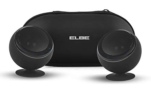 ELBE ALT-41ES-BT - Pack de 2 Altavoces portátiles (estéreo, Bluetooth, 6 W) Color Negro