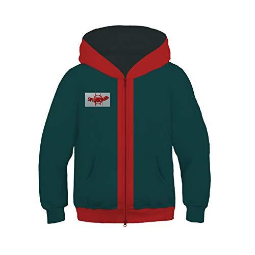 Sudadera con capucha para nios, con cremallera, para exteriores, para cosplay, disfraz de Vengadores, de manga larga, verde, L (135 cm ~ 145 cm)
