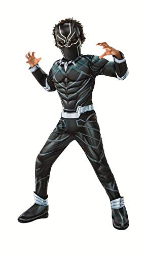 Marvel Avengers Black Panther Deluxe Light-up Muscle Chest Child Kids Halloween Costume (Child Medium (8-10))