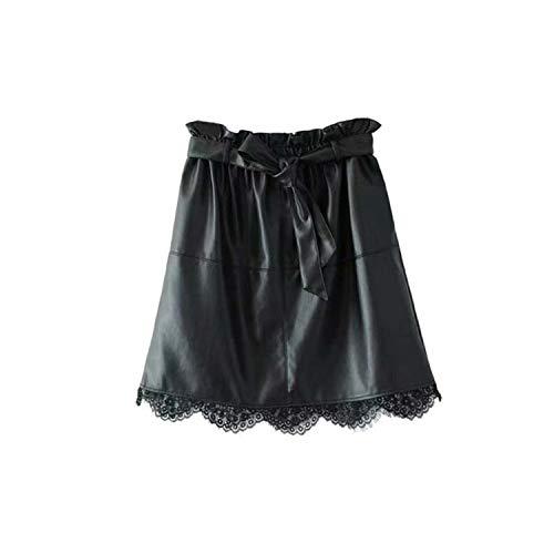 Vrouwen Kant Patchwork Pu Lederen Mini Rokken Sjassen Zakken Elastische Taille Faldas Rokken