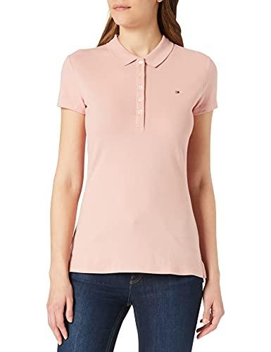 Tommy Hilfiger Short Sleeve Slim Polo Camiseta, Rosa (Soothing Pink), L para Mujer