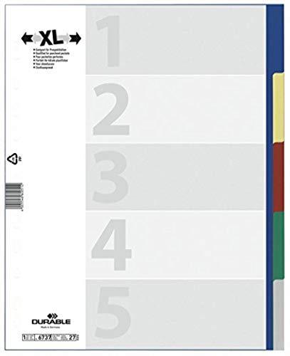 DURABLE Hunke & Jochheim Register, PP, blanko, farbiger Verlauf, DIN A4 Überbreite, 230 x 297 mm, 5 Stück