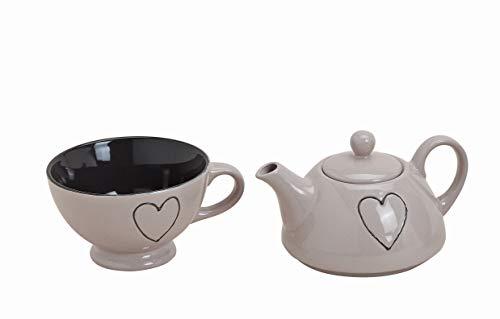 Wurm Tea for one mit Herz Teekannen-Set 3tlg Porzellan (Hellbraun)