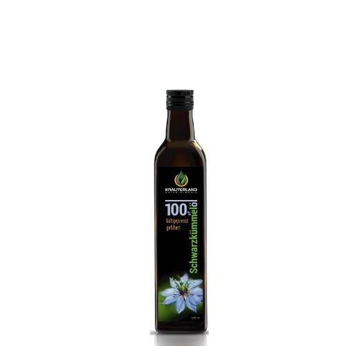 Kräuterland Schwarzkümmelöl 250ml - gefiltert, kaltgepresst, ägyptisch, 100% naturrein, mild - täglich mühlenfrisch, direkt vom Hersteller