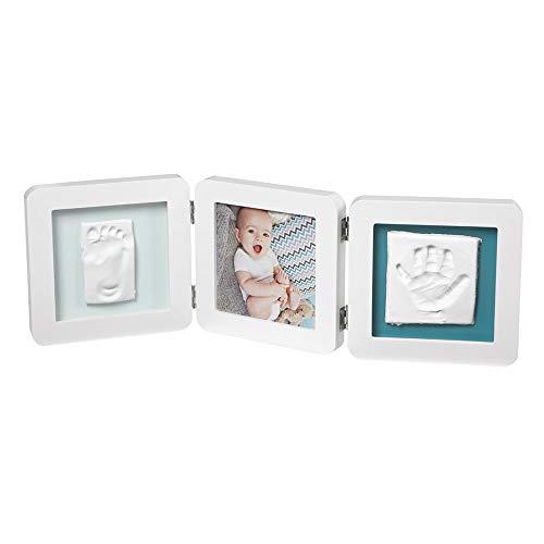 Baby Art My Baby Touch Double Print Frame, Essentials, Dreiteiliger Foto Bilderrahmen abgerundet, mit 2x Gipsabdruck zum Selbermachen, mehrfarbig
