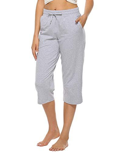 MOCOLY Women Capri Pants Elastic Waist Wide Leg Joggers Casual Lounge Cotton Sweatpants with Pockets Adjustable Drawcord Light Grey S