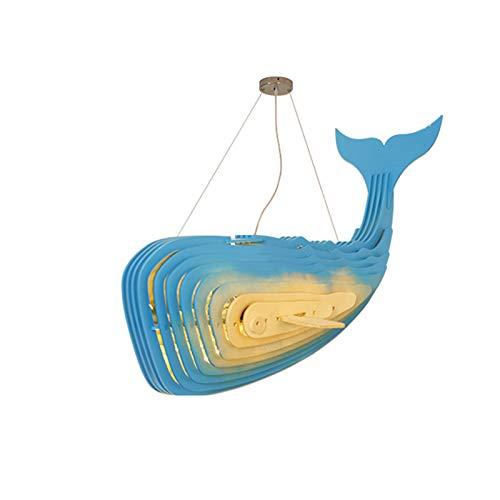 LJJLJJ Lámpara de luz de Ballena, Personalidad Creativa Sala de Estar Dormitorio Comedor Habitación para niños Hotel Alojamiento y Desayuno Lámpara Decorativa en Forma de pez (candelabro),Azul,60cm