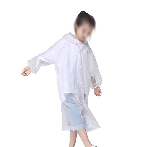 MMAXZ Moda Eva Niños Blanco Impermeable Espesado Impermeable Abrigo Lluvia Niños Claro Torno Transparente Impermeable Traje Traje