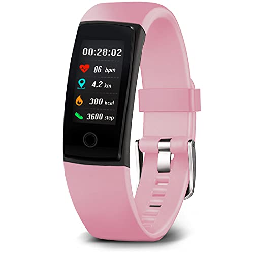 MorePro Fitness Tracker Waterproof Activity Tracker with Heart Rate Blood Pressure Monitor, Color Screen Smart Bracelet with Sleep Tracking Calorie Counter, Pedometer Watch for Kids Women Men (Pink)