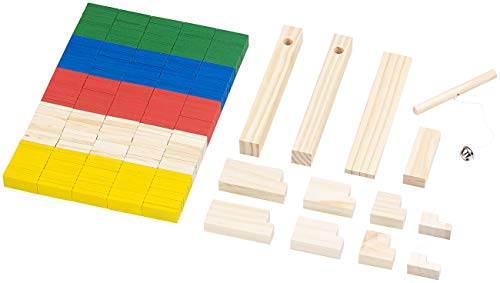 Playtastic Dominosteine: 263-teiliges Domino-Set mit Holzsteinen & Action-Elementen (Dominosteine Holz)