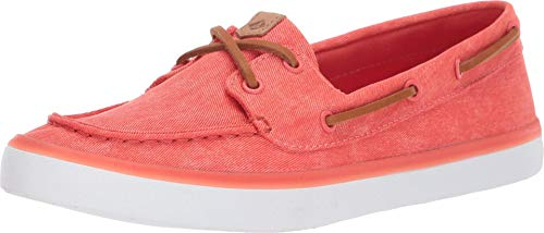 Sperry womens Sailor Boat Canvas loafers shoes, Coral, 8 US