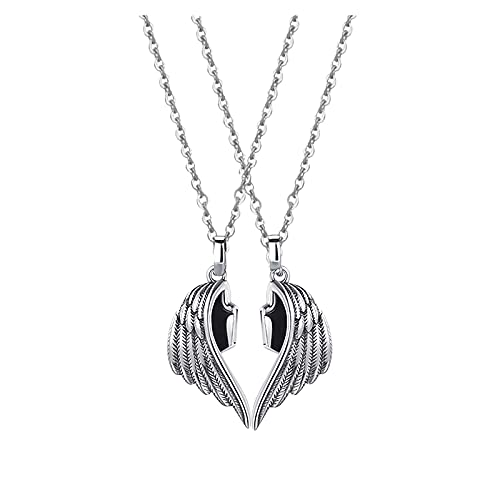 B/A Xenomose Devil Angel Wing Couple Necklace His & Hers Couples Demon Angel Wing Two Piece Necklace Magnet Attracts Lovers Couple Pendant Necklace for Couples Gifts (c)