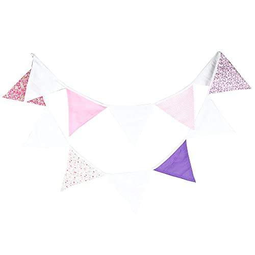 Pink White Party Bunting Fabric Bunting, Reusable Triangle Flag for Easter Garden Wedding Baby Shower Birthday Party Decoration 10.5ft