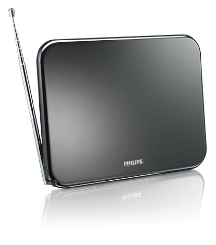 Philips SDV6224 Antenne TV numérique d'intérieur amplificateur 42dB (HDTV/UHF/VHF/FM) avec filtre anti-interférence 4G/GSM, Noir