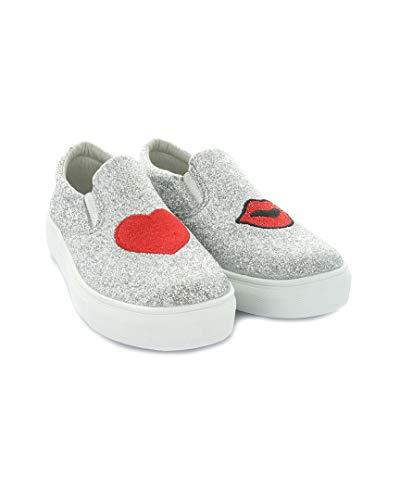 HOO Ruby Heart  and  Lips Slip-On Sneaker, 1 (Little Kid), Silver Glitter
