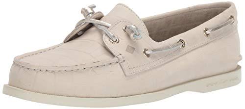 Sperry Womens A/O Vida Croco Nubuck Boat Shoe, Ivory, 5.5