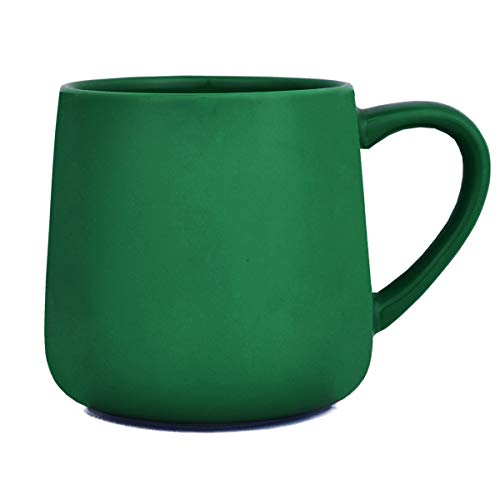 Bosmarlin Large Glossy Ceramic Coffee Mug, Tea Cup for Office and Home, 18 oz, Suitable for Dishwasher and Microwave, 1 Pack (Dark Green)