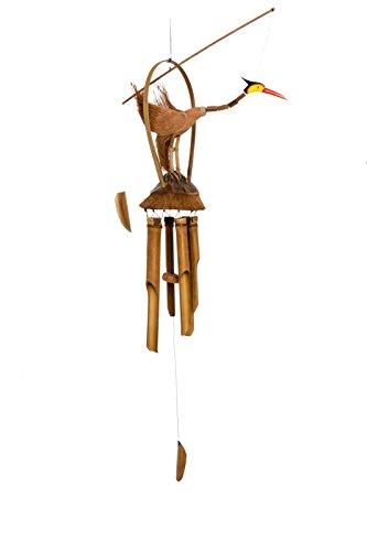 Ciffre Ca. 100cm Großes Holz Vogel Windspiel Feng Shui Handarbeit Bambus Klangspiel Garten Deko