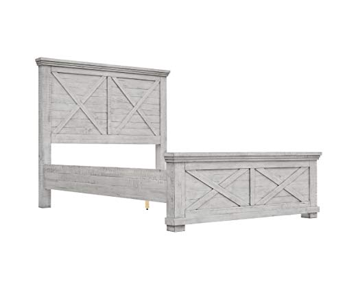 Sunset Trading Crossing Barn Panel Bed, King, Distressed Light Gray