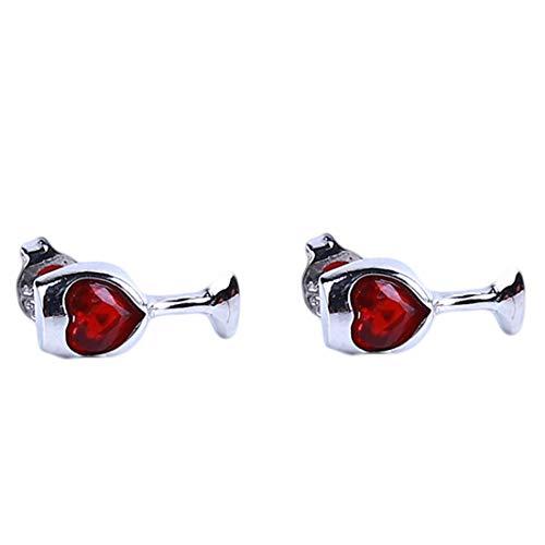 LGJJJ Wein Ohrringe Herz Rot Kristall Weinglas Ohrstecker Wunderschöne Frauen Klassische Ohrringe Einzigartige Chic Ohrringe