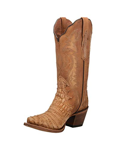 "Dan Post Western Boots Womens 13"" Remy Faux Caiman 8.5 M Honey DP3791 Tan"