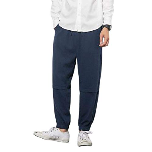 Capabes Men's Stretch Elastic-Waist Drawstring Trousers Autumn Solid Color Loose Harem Pants Nine Points Casual Overalls,with Pocket 3XL Navy Blue