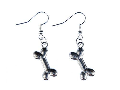 Miniblings Knochen Ohrringe Hänger Hund Hunde Steinzeit Hundeknochen Bone silber - Handmade Modeschmuck I Ohrhänger Ohrschmuck versilbert