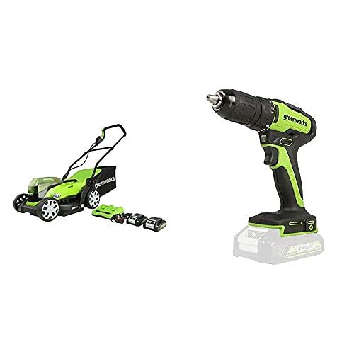 Greenworks Cortacésped con batería G24X2LM36K2x, Taladro atornillador inalámbrico GD24DD35