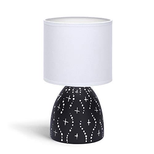 Aigostar - Lámparas de Mesita de Noche, Cuerpo de Diseño Color Negro con Motivos Blancos, Pantalla de Tela Color Blanco, Lámpara de Mesa E14. Perfecta para el Salón, Dormitorio o Recibidor, H25cm