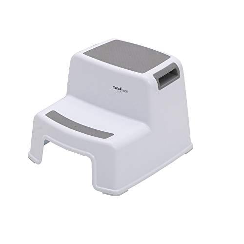 Zweistufiger Hocker Tritthocker für Kinder Kleinkind hocker für die Toilette Töpfchentraining Bad und Küche Rutschfester weicher Griff für Sicherheit Stapelbar (1er Pack grau)