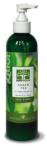 JustNeem Lotion, Green Tea, Instant and Lasting Relief for Severely Dry, Cracked, Itchy or Irritated Skin. For Eczema, Psoriasis, Rosacea, and More. Face and Body - 8 oz